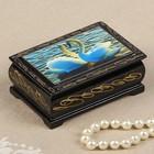 """Box """"Swans"""", 6x9 cm, lacquer miniature"""