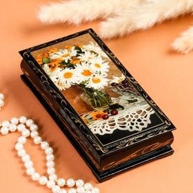 Шкатулка - купюрница «Герберы в вазе», 8,5×17 см, лаковая миниатюра
