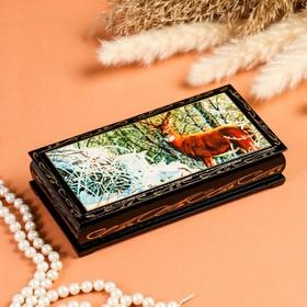 Шкатулка - купюрница «Охота», 8,5×17 см, лаковая миниатюра