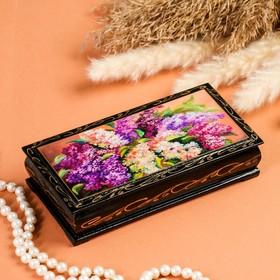 Шкатулка - купюрница «Сирень», 8,5×17 см, лаковая миниатюра