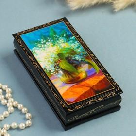 Шкатулка - купюрница «Ландыши», 8,5×17 см, лаковая миниатюра