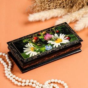 Шкатулка - купюрница «Ромашки с ягодами», 8,5×17 см, лаковая миниатюра