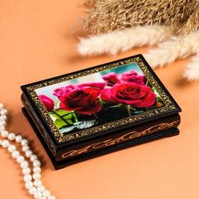 Шкатулка «Розы», 10×14 см, лаковая миниатюра
