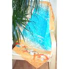 "Полотенце банное вафельное ""Море ракушки"" 80х150 см, 176 г/м2, хлопок 100%"