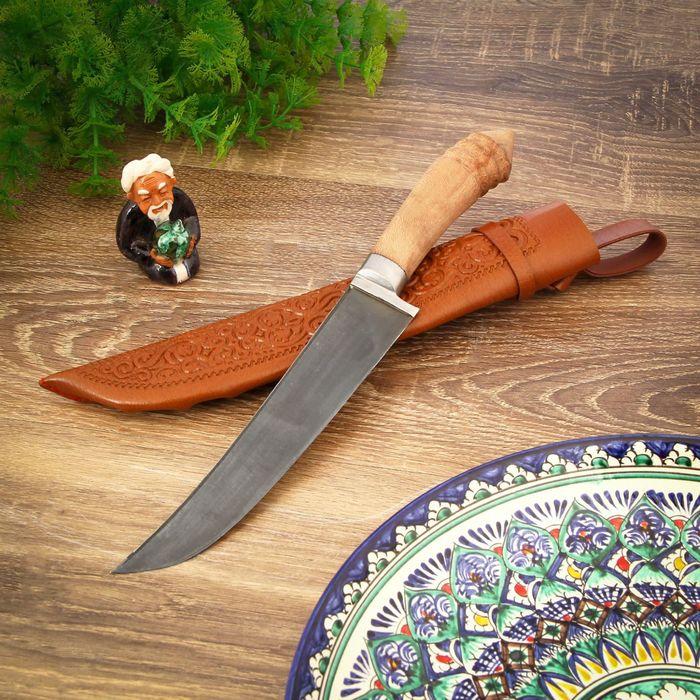 Пчак Шархон средний, рукоять витая из дерева, гарда из олова