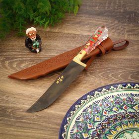 Пчак Шархон, рукоять из оргстекла, гарда из латуни, клинок с гравировкой Ош