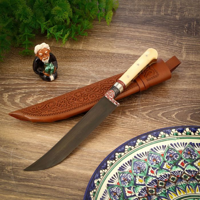 Пчак Шархон, рукоять узкая из кости (ёрма), гарда с садафом