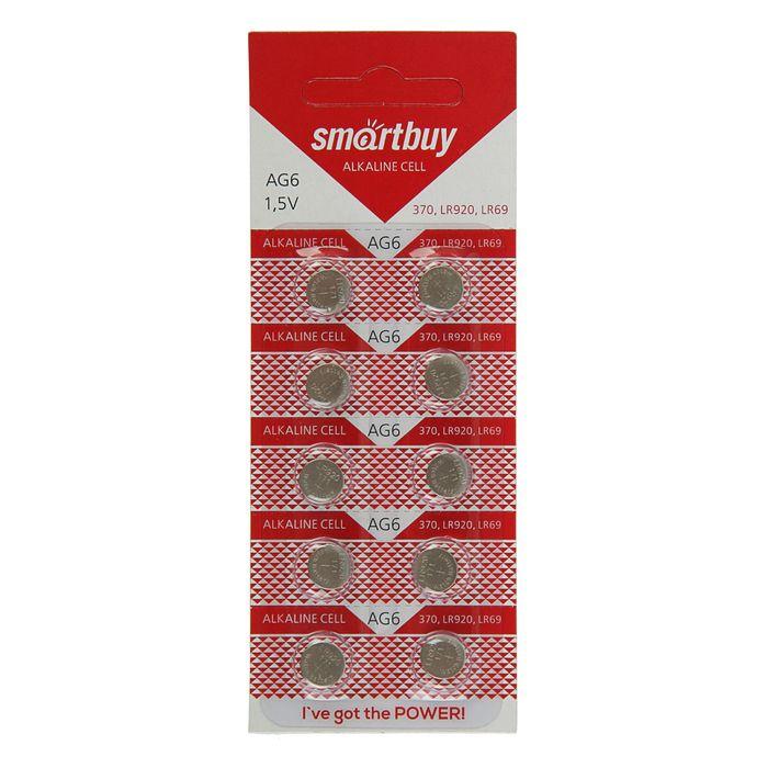 Батарейка алкалиновая Smartbuy, AG6 (370, LR920, LR69)-10BL, блистер, 10 шт.