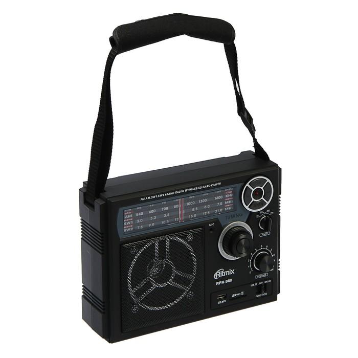 Радиоприёмник RITMIX RPR-888, функция MP3-плеера, диктофон