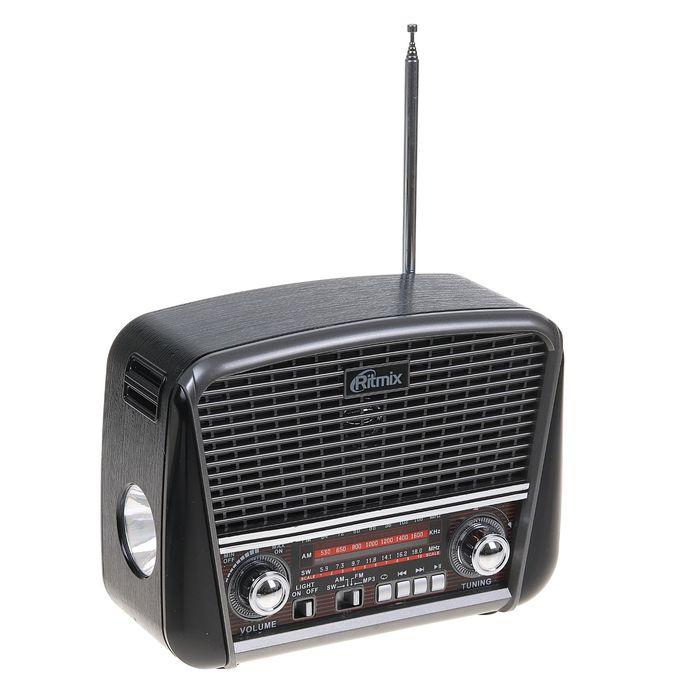 Радиоприёмник RITMIX RPR-065 GRAY, функция MP3-плеера, фонарь