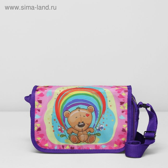 """Сумка детская на клапане """"Машенька"""", 1 отдел, цвет фиолетовый/разноцветный"""