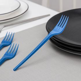Набор одноразовых вилок столовых 16,5 см, 100 шт, цвет синий