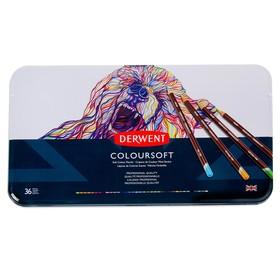 Карандаши художественные цветные Derwent Coloursoft, 36 цветов, в металлической коробке