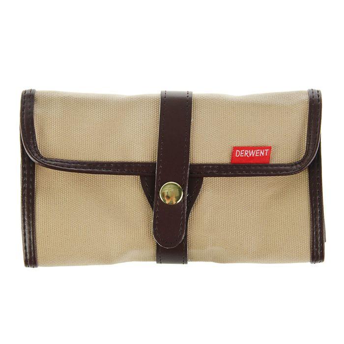 Пенал мягкий футляр (скатка) Derwent ткань на 30 предметов коричневый 700434