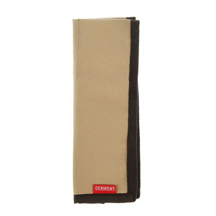 Пенал мягкий футляр карманный Derwent ткань на 12 карандашей коричневый 2300219