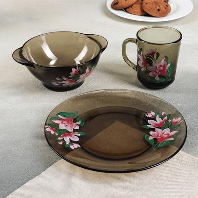 """Набор для завтрака """"Магнолия"""", 3 предмета: тарелка 20,5 см, миска 510 мл, кружка 210 мл, цвет дымка"""
