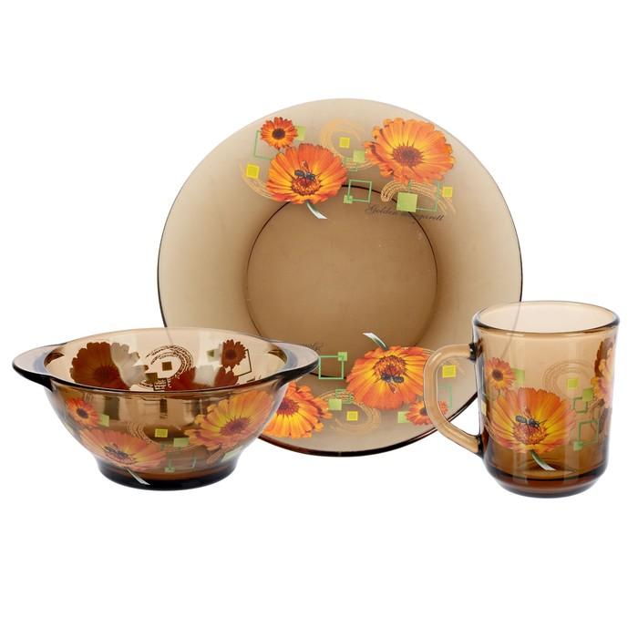 "Набор для завтрака ""Маргаритки"": тарелка 20,5 см, миска 510 мл, кружка 210 мл, цвет дымка"