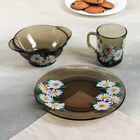 "Набор для завтрака ""Ромашковое поле"": тарелка 20,5 см, миска 510 мл, кружка 210 мл, цвет дымка"