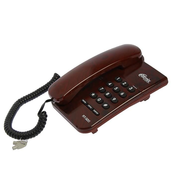 Проводной телефон Ritmix RT-320, световой индикатор, настольно-настенный,цвет мраморный кофе
