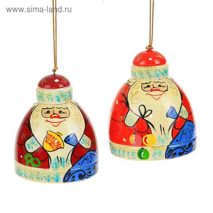 """Ёлочная игрушка """"Колокольчик Дед Мороз"""" 7 см"""