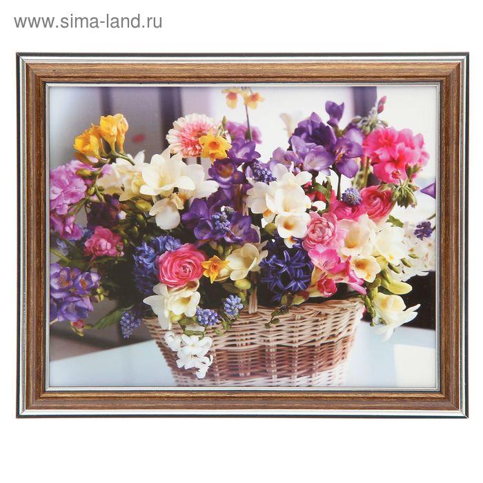 """Картина """"Корзина с цветами"""" 28*24 см"""