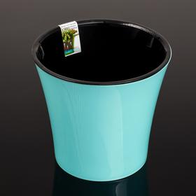 Кашпо со вставкой «Арте», 1,2 л, цвет мятно-чёрный