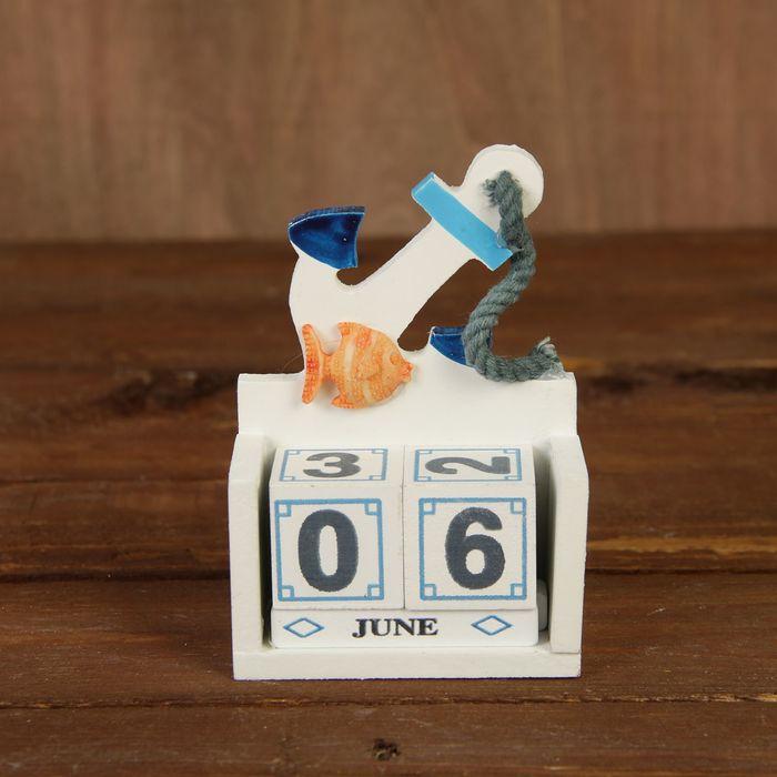"""Сувенир дерево настольный календарь """"Якорь с рыбкой"""" 10,5х7х3,5 см"""