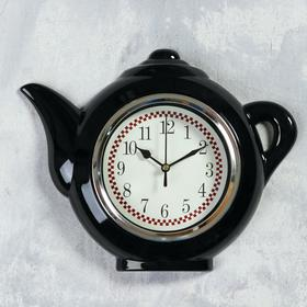 """Часы настенные, серия: Кухня, """"Чайник"""", черный, 30х23 см"""