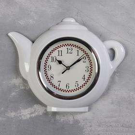 "Часы настенные, серия: Кухня, ""Чайник"", белый, 30х23 см, плавный ход"