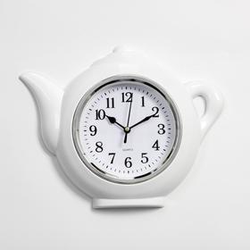 "Часы настенные, серия: Кухня, ""Чайник"", хром, 30х23 см"