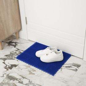 Покрытие ковровое щетинистое без основы «Травка», 40×53 см, цвет синий