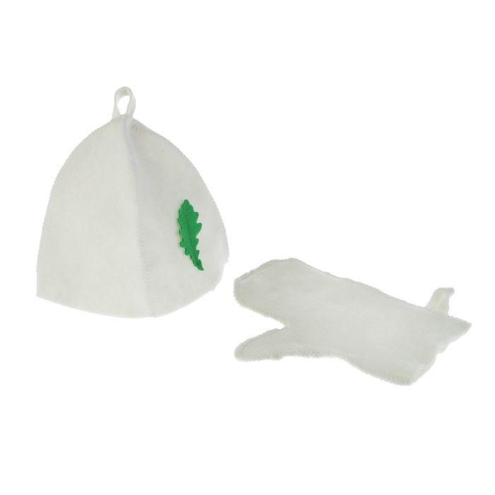 Набор для бани и сауны «Классика»: шапка, рукавица, синтетика, белый