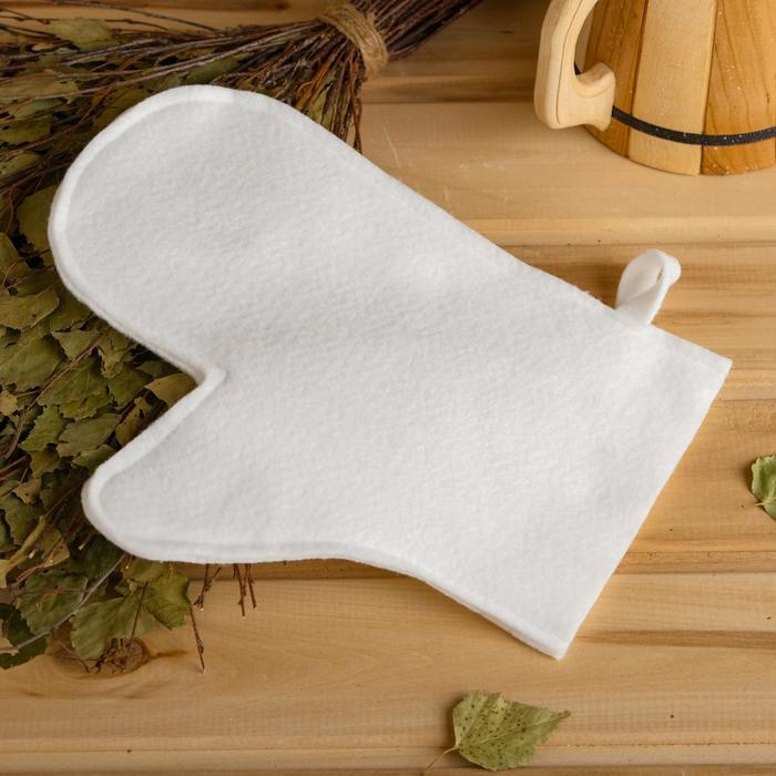 Рукавица для бани и сауны «Классическая», синтетика, белая