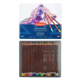 Карандаши художественные цветные, Derwent Coloursoft, 24 цвета, в металлической коробке