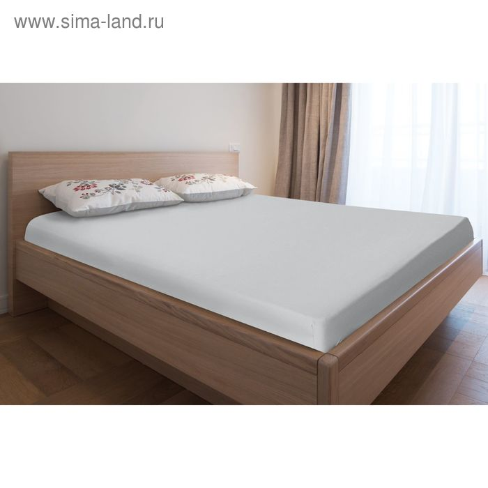 Простыня трикотажная на резинке, 80х200х20, цвет серый, 125 гр/м2