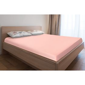 Простыня трикотажная на резинке, 200х200х20, цвет розовый, 125 гр/м2