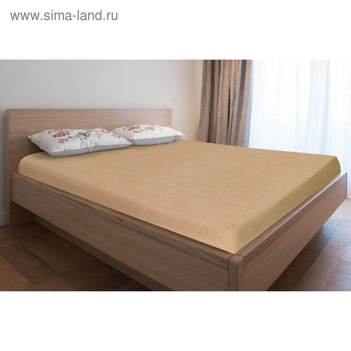 Простыня махровая на резинке, 160х200х20, цвет бежевый, 160 гр/м2