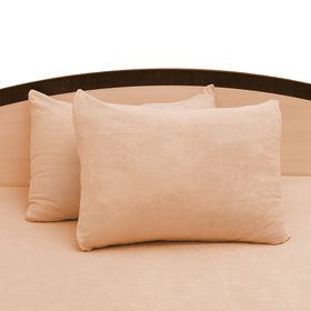 Наволочки махровые на молнии, 50х70 - 2шт, цвет персиковый, 160 гр/м2 Ош