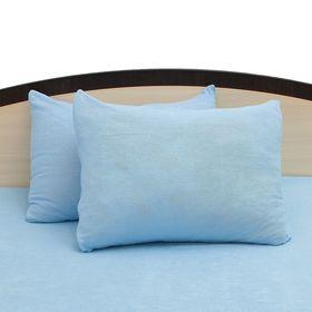 Наволочки махровые на молнии, 50х70 - 2шт, цвет голубой, 160 гр/м2 Ош