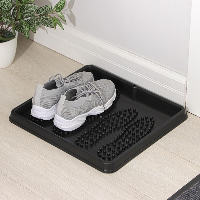 Лоток для обуви, 43 × 39 см, цвет чёрный