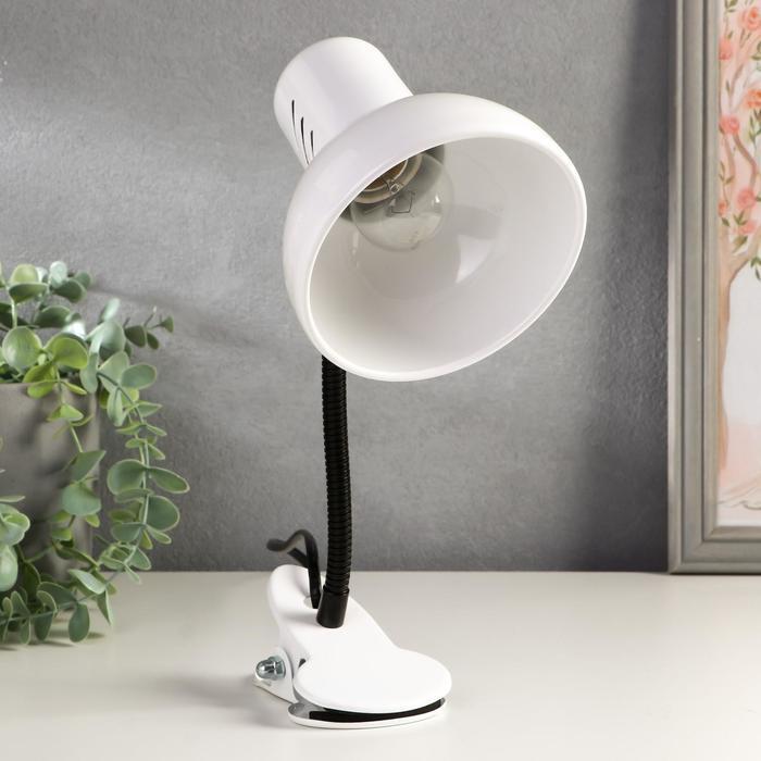 Светильник настольный на прищепке НТ2077С (Е27 60Вт 220W) белый