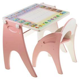 Набор мебели «Буквы- цифры» парта-мольберт, стульчик, цвет розовый