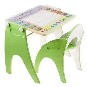 Набор мебели «Буквы-цифры» парта-мольберт, стульчик, цвет салатовый