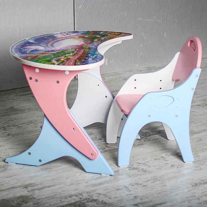 """Набор мебели """"Космошкола"""": стол-парта, стул. Цвет розовый-голубой"""