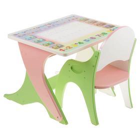 Набор мебели « Буквы-цифры», стол-парта, стул, цвет салатово-розовый