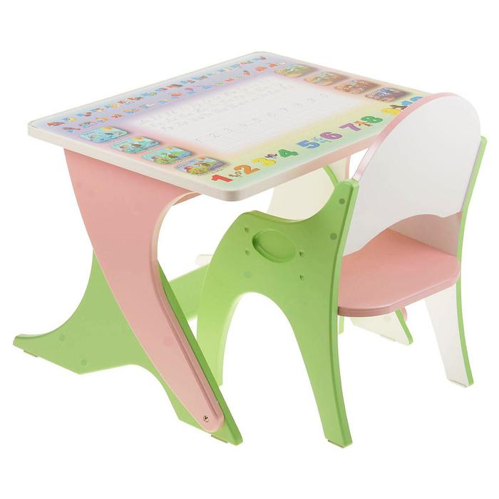 """Набор мебели """" Буквы-цифры"""": стол-парта, стул. Цвет салатовый-розовый"""