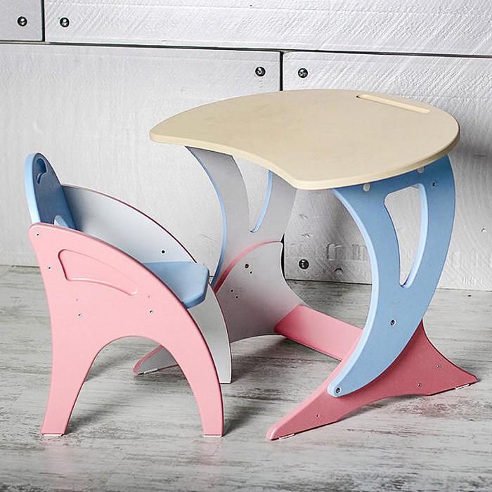 Набор мебели регулируемый «Парус «, стол, стул, цвет розово-голубой - фото 958788