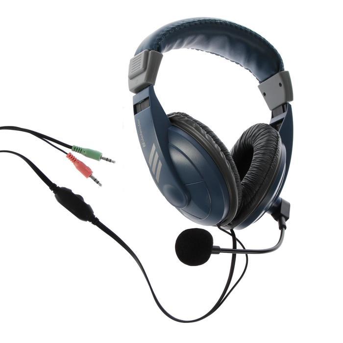 Наушники полноразмерные Defender Gryphon 750, 105 дБ, 32 Ом, микрофон, кабель 2 м, синие