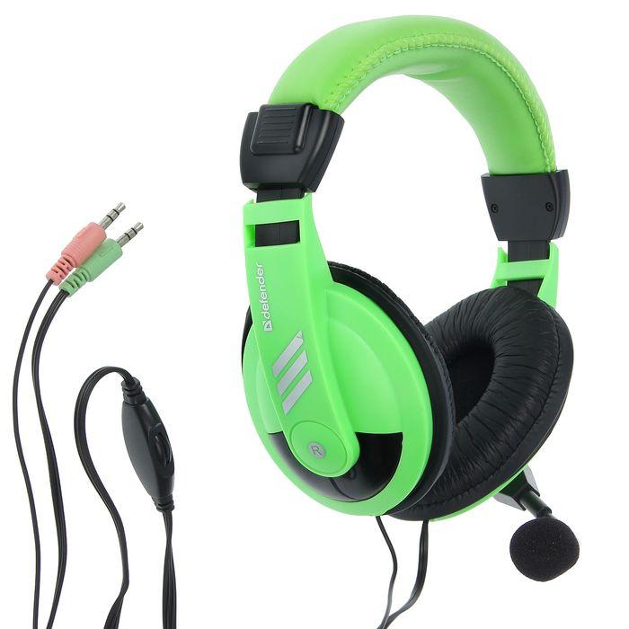 Гарнитура DEFENDER Gryphon 750, компьютерная, кабель 2 м, зелёная