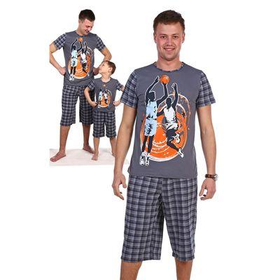 Комплект мужской (футболка, шорты) Горизонт цвет МИКС, р-р 52